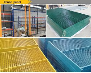 "China Powder coated Weld mesh 2""x4""x8ga wire temporary construction fence 6'x9.5' outer tubing 50mm*50mm*1.5mm brace 30mm*30mm factory"