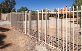 Flat top galvanized steel tubular metal fence panel