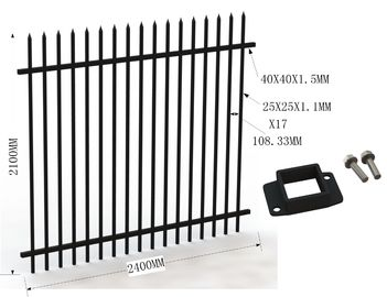 Garrison Tubular Fence 1800mm x 2400mm stain black powder