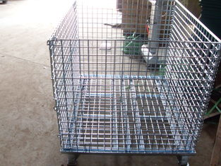 "China Wholesale collapsible Wire Container, 40*32*35.5 Mesh 2"" * 2"" Diameter 6mm Capacity 2,800 LBS with Casters factory"