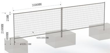 2100mm x 3500mm temporary fencing design bottom foot 400mm under concrete temporary construction fence