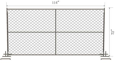 "China 6' x 10' Chain Link Temporary Fence Panels Mesh2 ⅝""x 2-5/8"" x 11.5 gauge wire  1.25"" (32mm) tubing x 16 gauge factory"
