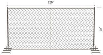8 foot x 10 foot chain link temporary construction fence panels 60mm x 60mm mesh x 2.7mm diameter  hot dipped galvanized