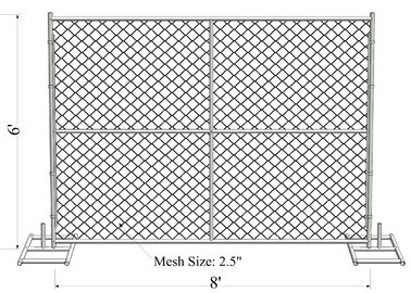 6' Height x 12' Width 11ga 11.5 ga 12ga  12.5ga diameter chain mesh 60mm Portable Chain Link Temporary Security Fencing