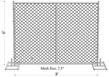 "China ASTM -A392-06 temporary chain link fence panels 6ft x 10ft construction fence Tubing 1⅗""(40mm) cross brace mesh 1⅗""40mm factory"