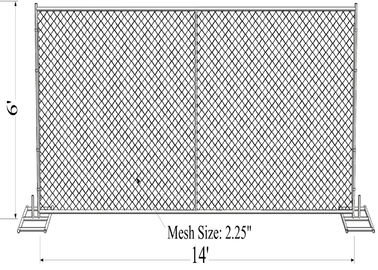 "China 6'x12' temporary construction fence panels ,chain mesh construction fence panels  2¼""x2¼""(57mmx57mm) x 12.5 ga factory"