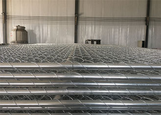"China tubing 1¼""(32mm) x 1.4mm thick temporary chain wire fence mesh spacing 2½""x2½""(63mmx63mm) 8ft x 12ft construction fence factory"