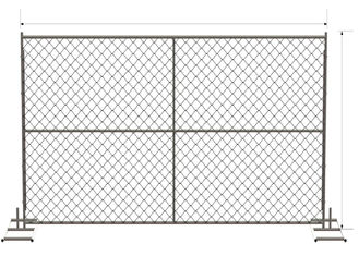 "China 6 foot x 12 foot chain link mesh temporary fencing panels with a 1 3/8"" x 16GA and 2-3/8 inch temp fence factory"