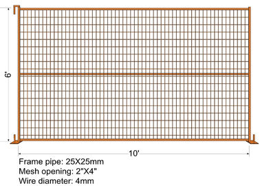 "RAL 2009 powder coated construction temporary fencing 6'/1830mm*10'/3048mm Tubing 40mm*1.5mm  weld mesh 2""x4""*8gauge Dia"