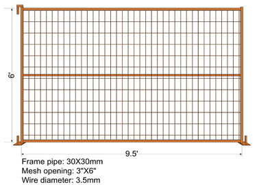"9.5*6ft Mesh 2""x4""x9ga diameter Canada Standard RAL 2004 Orange Color Temporary Fence For Commercial build construction"