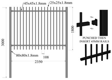 Spear Top Metal Fencing | Steel Picket | China Metal Fence Supplier 1800mm ,2100mm ,2400mm height