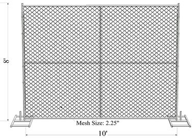 "China 8' x 10' ""Great Wall"" temporary chain link fence panels Tube 1.625"" /41.2mm  wall thick 14ga factory"