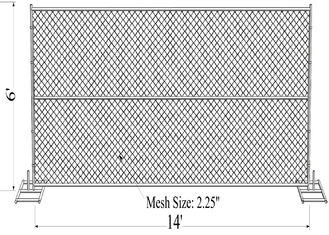 "China 6' x 14' ""wise man"" temporary chain link fence panels tube 1-1/2""diameter /38mm factory"