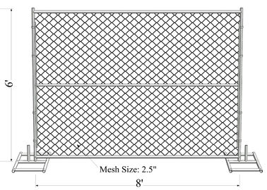 "6' x 8' ""Charming Baby"" temporary chain link fence panels Outer Pipes1.4""(35mm ) tube Mesh 45mmx45mm high security"
