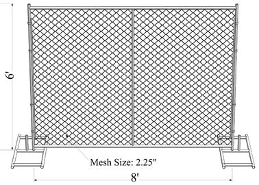 "6'x8' smart construction fence tube 1.25""/32mm wall thick 1.20mm mesh aperture 75mm x 75mm temporary chain link  fence"