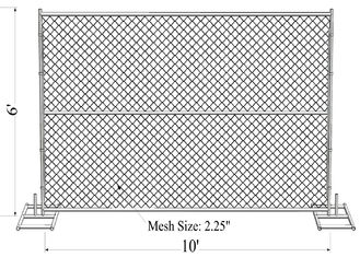 "China Mesh 2"" x 2"" 6ft x 10ft with a 1 3/8"" pipes 16GA temporary mesh fence for sale Chain Link Temporary Fence factory"