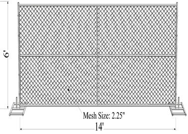 "1⅜""(35mm) tube chain link fence panels 6'x14' chain mesh opening 2⅜""x2⅜""(60mmx60mm)  diameter 3.00mm"