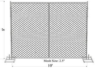 8'x14' chain link fence panels pipe 41.2mm chain link mesh 57mm x 57mm x 3.00mm hot dipped galvanized  2 oz/ft2 610 g/m