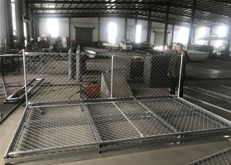 "China 6'X12' chain link fence panels 1⅜""(35mm) outer tube 1.2 oz/ft2/366 g/m2 hot dipped galvanized  mesh aperture ) 2½""/63mm factory"