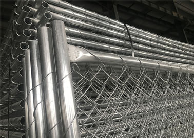 "China 6ft x 12ft chain link fence panels for temporary project tube1.2 oz/ft2 [366g/m2] and chain mesh 2-1/4"" x 2-1/4"" factory"