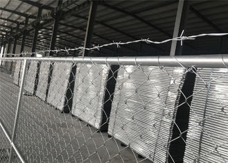 "8'x12' chain link fence panels for semi contruction site mesh 3"" x 3"" x 12gauge ASTM392 hang with barb wire"