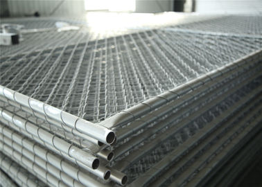 Chain Link Fabric Construction Fence Panels 6' height width 14' width Mesh 65mm x 65mm ASTM hot dipped galvanized