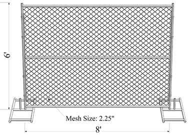 Construction Site 6'H X 8'W Temporary Fence Panel, 11-1/2 ga. Chain Link, No Bracing 45 lbs
