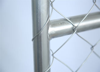 China Hot dipped Galvanized Chain Link Fence Panels Height 6' Width 10' 33mm outer frame with Barb Wire factory