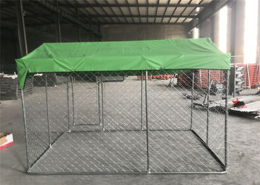 China 7.5ft x 7.5ft x 6ft chain mesh temporary dog kennel fence OD 32mm pipes galvanized steel temp dog fence factory