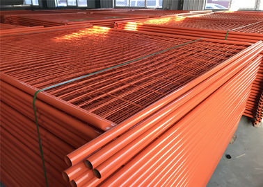 China RAL 2009 Powder Coated Temporary Fencing Panels OD 32mm x 1.4mm Mesh 6cmx15cm diameter 3.2mm factory