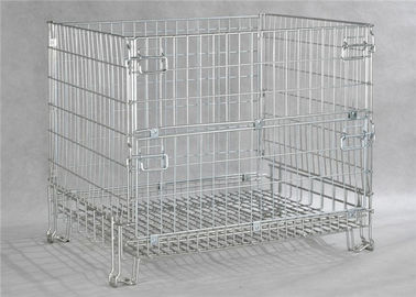 China European stackable collapsible galvanized steel wire mesh cage metal storage container for wine bottle industry factory
