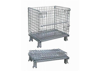 Folding wire mesh storage cage warehouse container