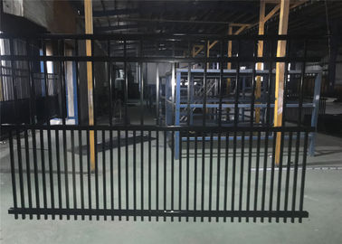 China Steel fence 2100mmx2400mm Panels Stain Black Interpon Powder Rail 40mm and 50mm Upright 25mm factory