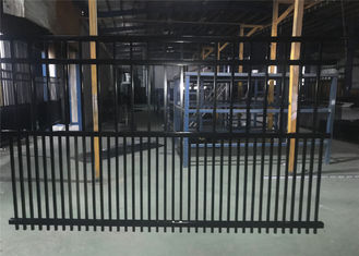 Steel fence 2100mmx2400mm Panels Stain Black Interpon Powder Rail 40mm and 50mm Upright 25mm