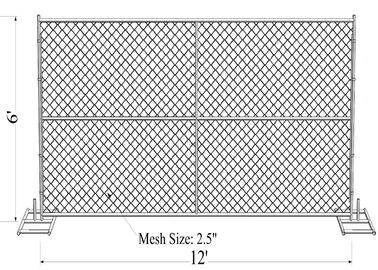 "6'X12' chain link fence panels 1⅜""(35mm) outer tube 1.2 oz/ft2/366 g/m2 hot dipped galvanized  mesh aperture ) 2½""/63mm"