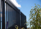 Black powder coated spear top galvanised tubular metal fence