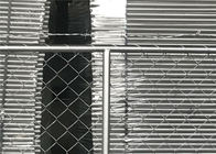 "Temporary Chain Link Fence Panels with barb wire 1⅝""(42mm) x16ga thickness 2¼""x2¼""(57mmx57mm) with 10ga /3,00mm dia"