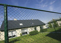 Green Coated Chain Link Fence Mesh Airport Security / Side Stop Fencing supplier