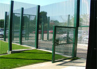 358 security wire fence panels powder coated orange & black mesh 76.20mm x 12.70mm with 4 v fold