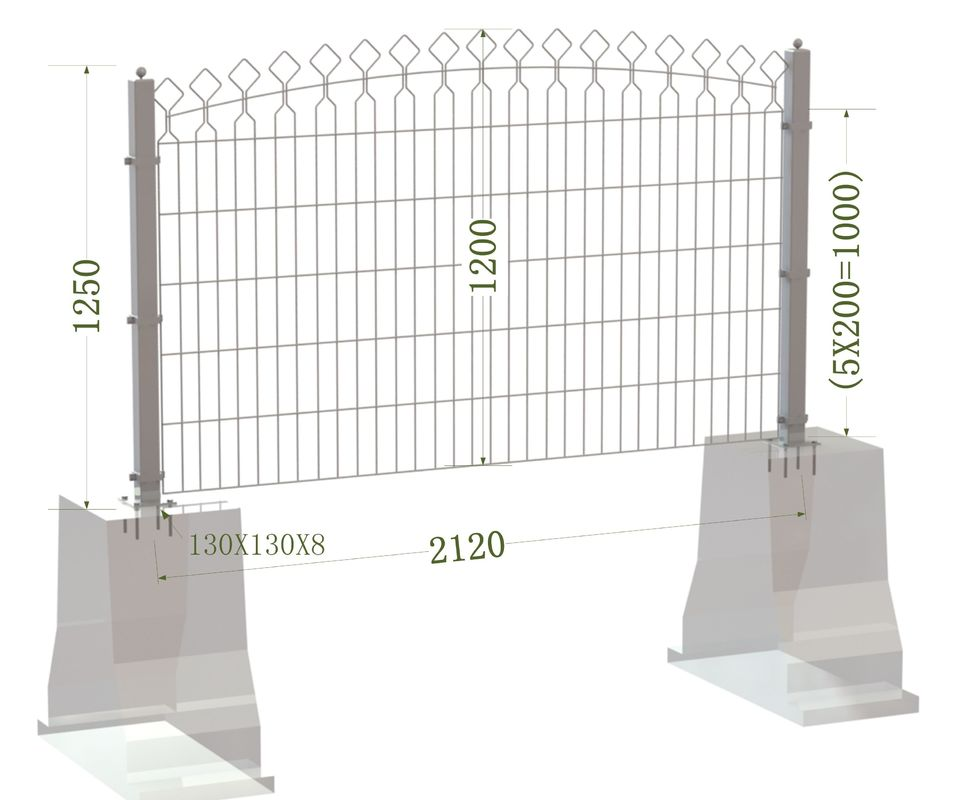 Decorative Metal Arched Wire Mesh Fence,Decorative Powder Coated Arched Top Metal Fence supplier