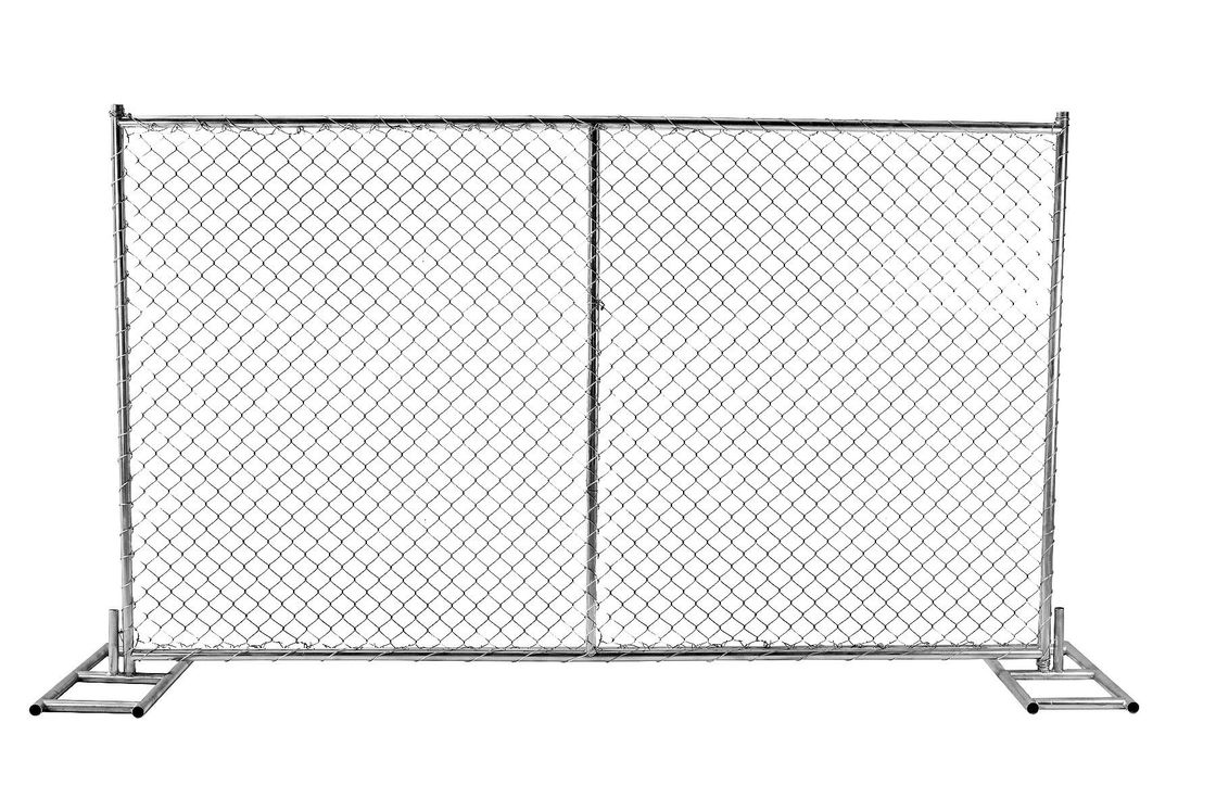 "Chain Wire Temporary Fencing Mesh 2"" x 2"" 6ft x 10ft with a 1 3/8"" pipes 16GA temporary mesh fence for sale"