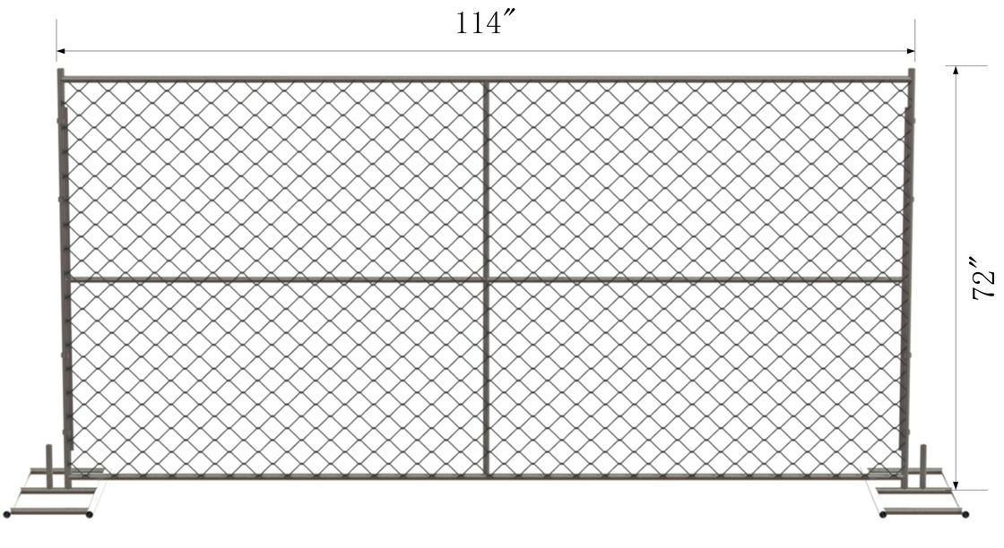 "6' x 10' Chain Link Temporary Fence Panels Mesh2 ⅝""x 2-5/8"" x 11.5 gauge wire  1.25"" (32mm) tubing x 16 gauge"