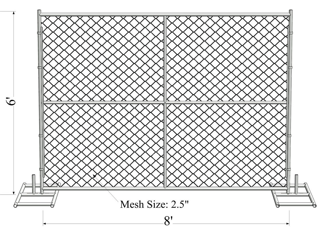 6' Height x 12' Width 11ga 11.5 ga 12ga  12.5ga diameter chain mesh 60mm Portable Chain Link Temporary Security Fencing supplier