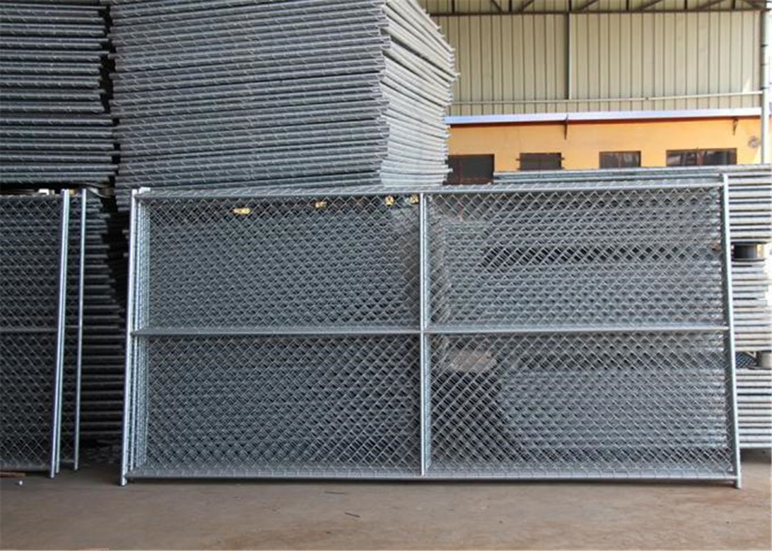 "6'x12' round tubing 1¼""(32mm) x 16 ga thick temporary chain link fence cross barce hdg 275 mesh spacing 2½""x2½"" 63mmx63 supplier"