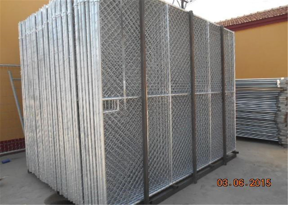 "Hot dipped galvanized 6'x12' construction chain link fence panels tubing 48mm  1⅞""(48mm) x 16 ga diameter and mesh 60mm supplier"