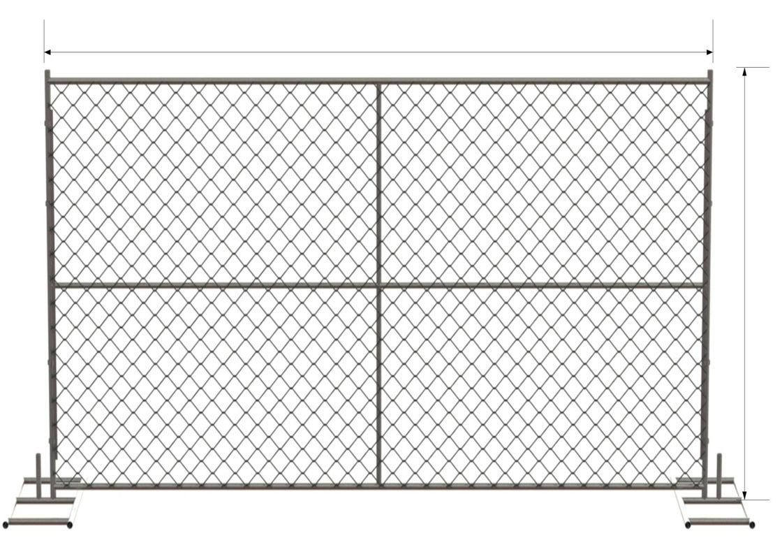 "6 foot x 12 foot chain link mesh temporary fencing panels with a 1 3/8"" x 16GA and 2-3/8 inch temp fence supplier"