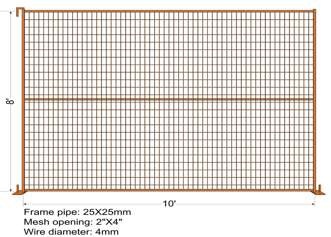 "RAL 2009 powder coated construction temporary fencing 6'/1830mm*10'/3048mm Tubing 40mm*1.5mm  weld mesh 2""x4""*8gauge Dia supplier"