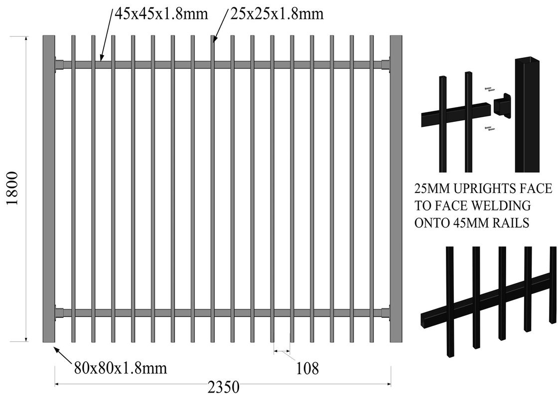 Australia Black Heavy Duty Tubular Steel Garrison Fence supplier