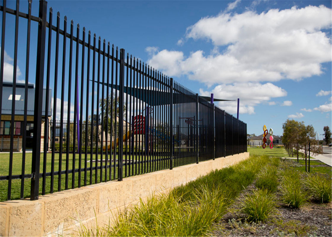 Boundary protection welded galvanized steel temporary picket fence tubular fencing supplier