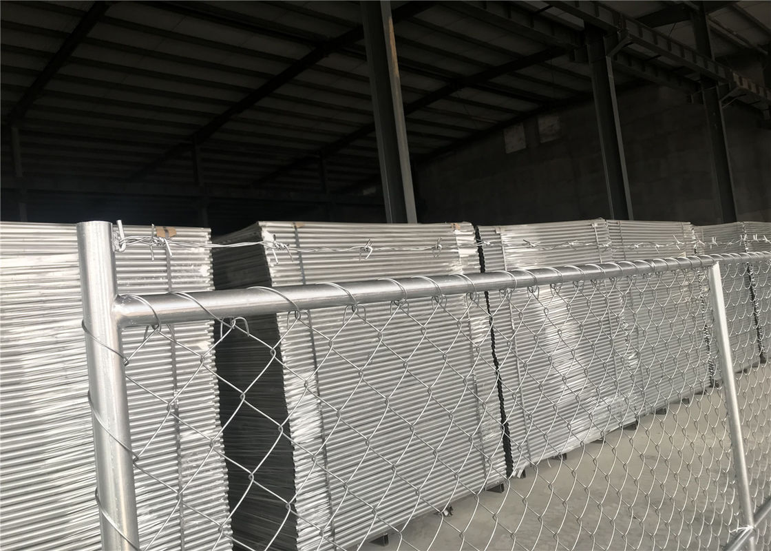Temporary Chain Link Fence Panels with barb wire 1⅝\